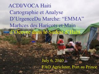 July 6, 2010             FAO Agricluter, Port au Prince