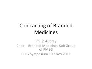 Contracting of Branded Medicines
