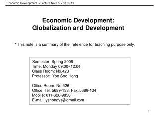 Economic Development  <Lecture Note 5 > 08.05.19
