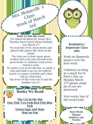 Mrs. Monacelli`s Class Week of  March  3rd
