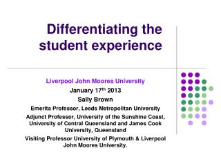 Differentiating the student experience