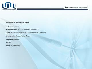Licenciatura en Administración Pública Asignatura:  Estadística
