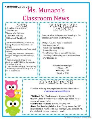Ms.  Munaco's Classroom News