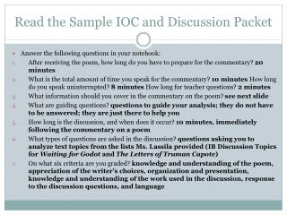 Read the Sample IOC and Discussion Packet
