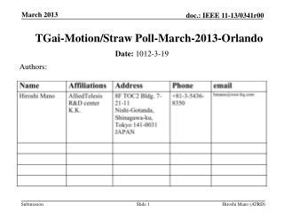 TGai -Motion/Straw Poll-March-2013-Orlando