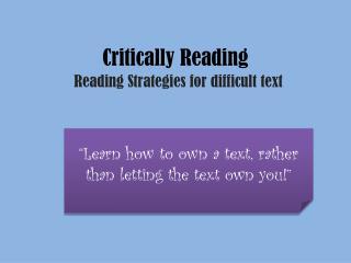 Critically Reading
