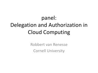 panel: Delegation  and Authorization in Cloud Computing