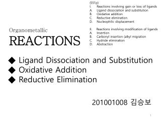 ◆ Ligand Dissociation and Substitution ◆ Oxidative Addition ◆ Reductive Elimination