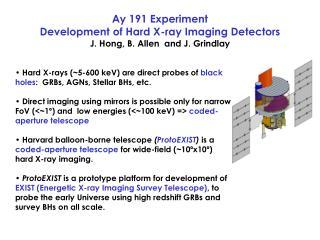 Ay 191 Experiment  Development of Hard X-ray Imaging Detectors J. Hong, B. Allen  and J. Grindlay