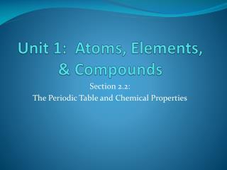 Unit 1:  Atoms, Elements, & Compounds