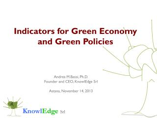 Indicators  for Green  Economy and Green  Policies