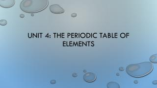 Unit 4: The Periodic Table of elements