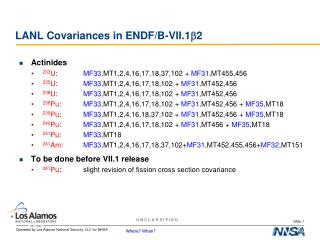LANL  Covariances  in ENDF/B-VII. 1 b 2