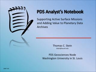 PDS Analyst's Notebook