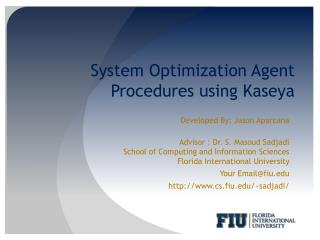 System Optimization Agent Procedures  using  Kaseya