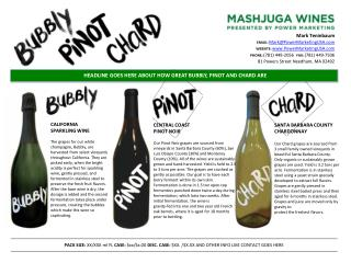HEADLINE GOES HERE ABOUT HOW GREAT BUBBLY, PINOT AND CHARD ARE