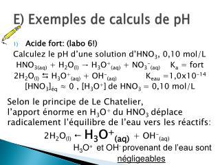 E) Exemples de calculs de pH