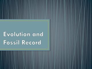 Evolution and  Fossil Record