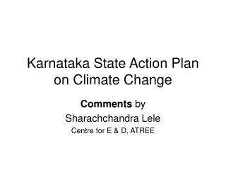 Karnataka State Action Plan on Climate Change