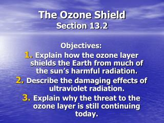 The Ozone Shield Section 13.2
