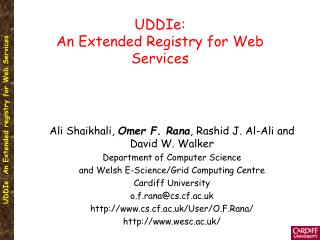 UDDIe:  An Extended Registry for Web Services