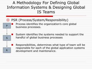 A Methodology For Defining Global Information Systems & Designing Global IS Teams