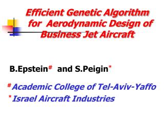 Efficient Genetic Algorithm    for  Aerodynamic Design of Business Jet Aircraft