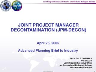 JOINT PROJECT MANAGER DECONTAMINATION JPM-DECON
