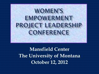 women's empowerment project leadership conference