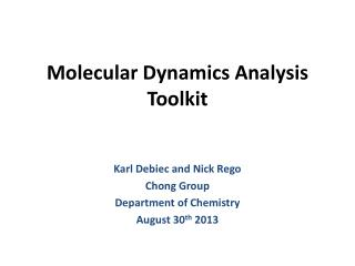 Molecular Dynamics Analysis Toolkit
