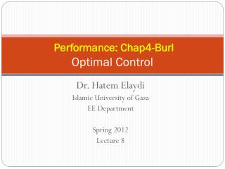 Performance: Chap4-Burl Optimal Control
