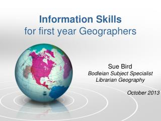 Information Skills for first year Geographers