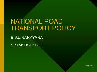 NATIONAL ROAD TRANSPORT POLICY
