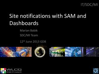 Site notifications with SAM and Dashboards