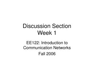 Discussion Section Week 1
