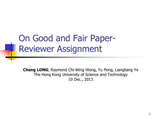 On Good and Fair Paper-Reviewer Assignment