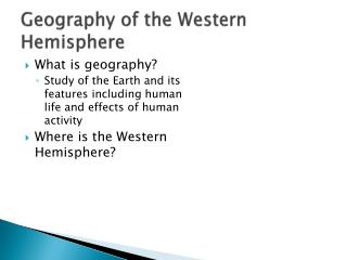 Geography of the Western Hemisphere