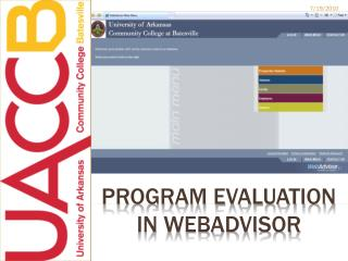 Program evaluation in  webadvisor