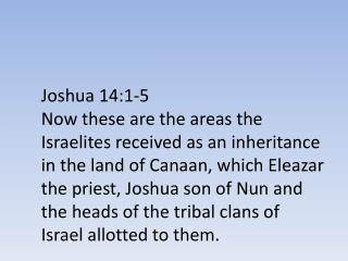 Joshua 14:1-5