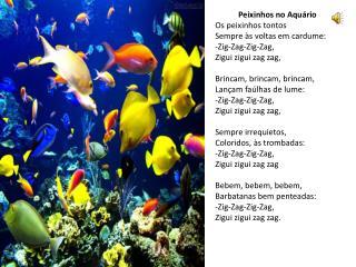 Peixinhos no Aquário Os peixinhos tontos Sempre às voltas em cardume: - Zig-Zag-Zig-Zag ,