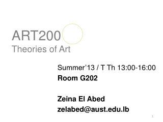 ART200 Theories of Art