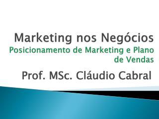 Marketing nos Negócios Posicionamento  de Marketing e Plano de Vendas