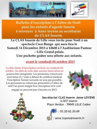 Bulletin d'inscription à l'Arbre de Noël  pour  les enfants  d'agents  Inserm