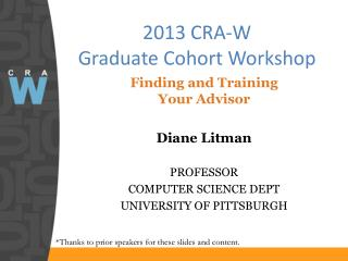 2013 CRA-W  Graduate Cohort Workshop