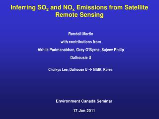 Inferring SO 2  and  NO x  Emissions from Satellite  Remote  Sensing