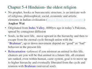Chapter 5-4 Hinduism- the oldest religion