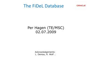 The FiDeL Database