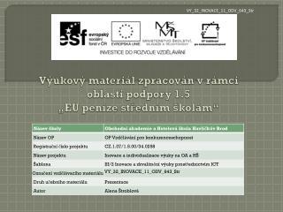 """Výukový materiál zpracován vrámci oblasti podpory 1.5 """"EU peníze středním školám """""""