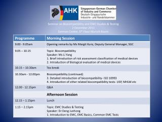 Seminar on Biocompatibility and EMC Studies & Testing  2 December 2011