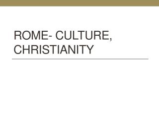 Rome- Culture, Christianity